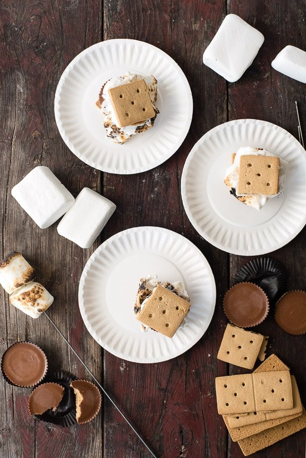 Peanut Butter Cup S\'Mores on paper plates