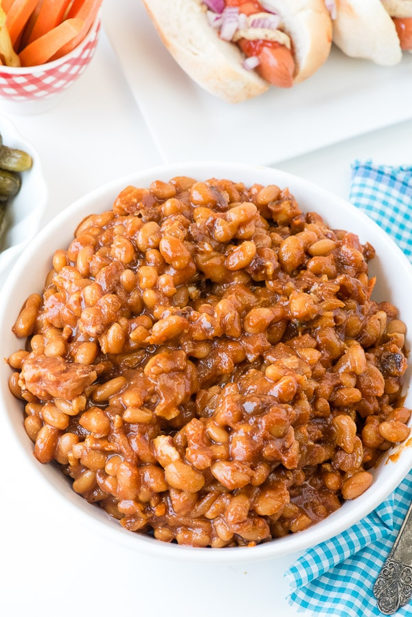 Slow Cooker Barbecue Beans with Bacon from overhead