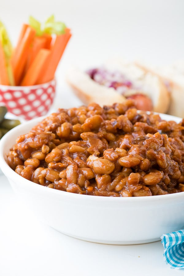 Slow Cooker Barbecue Beans with Bacon recipe. Sweet, spicy barbecue ...