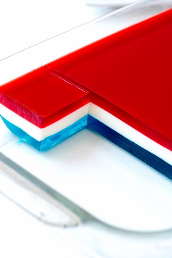 Red, White and Blue Layered Finger Jello recipe in a clear pan