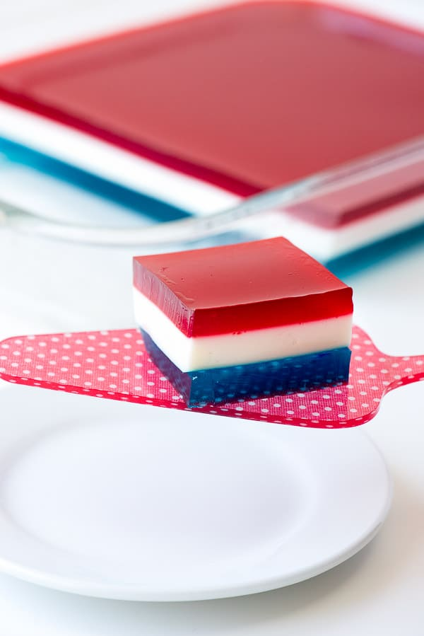 Star Spangled Layered Finger Jello (Red, White and Blue Finger Jello). A fun layered treat perfect for any patriotic holiday or to celebrate summer with cherry and berry flavors. - BoulderLocavore.com