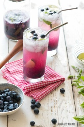 Blueberry Mojitos with metal straw on checked cloth