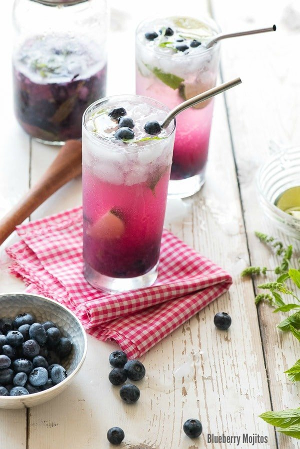 Blueberry Mojitos (with faux-jito option)