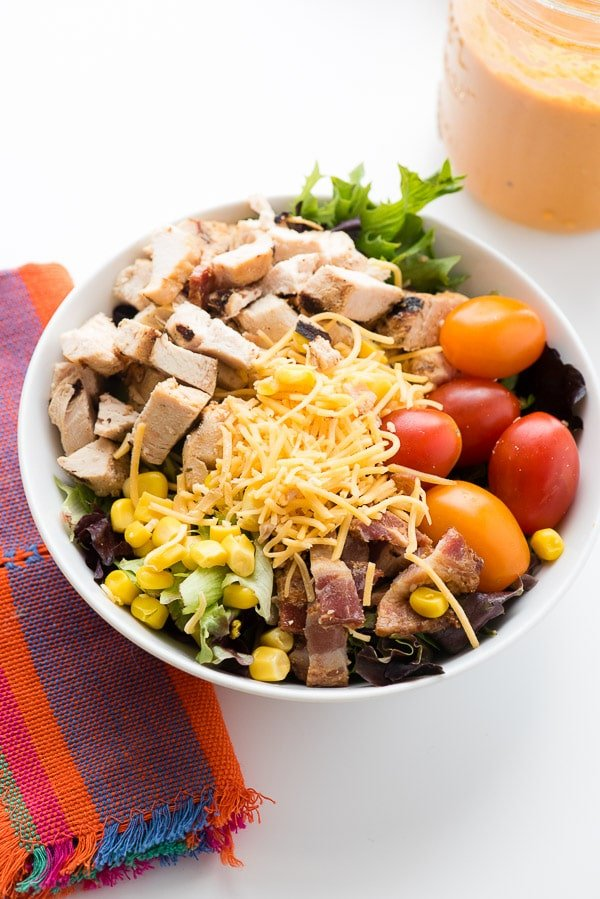 Cobb Salad with Mexican inspired ingredients and homemade Roasted Tomato Dressing