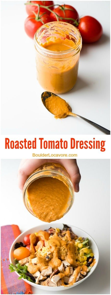 Roasted Tomato Dressing with Mexican Cobb Salad. This simple dressing is so easy to make with roasted tomatoes, shallot and garlic, whirled in the blender with olive oil, balsamic vinegar and some seasonings to make any salad exciting! - BoulderLocavore.com