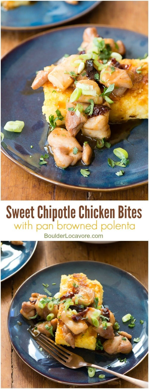 Sweet Chipotle Chicken Bites with Pan Browned Polenta BoulderLocavore.com