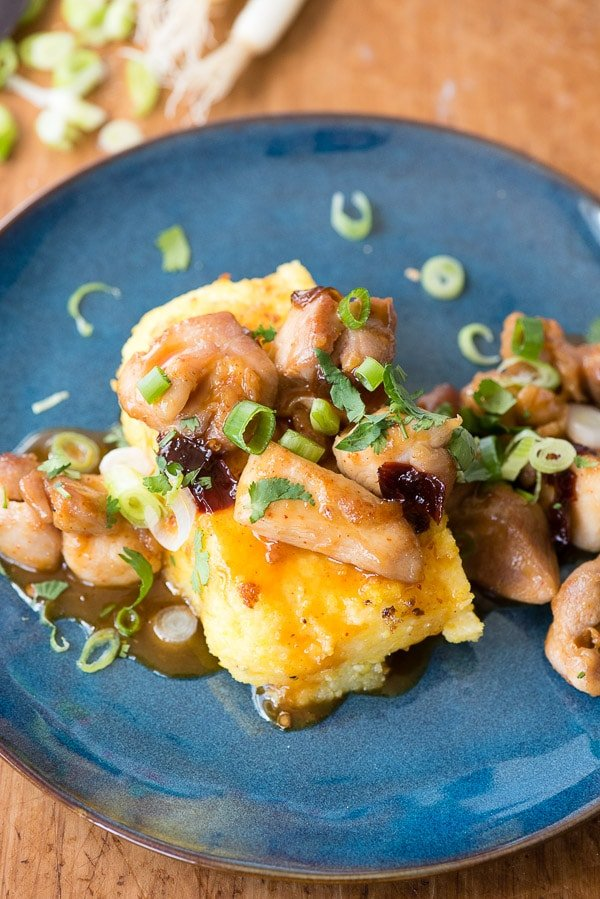 Sweet Chipotle Chicken Bites with Pan Fried Polenta - BoulderLocavore.com
