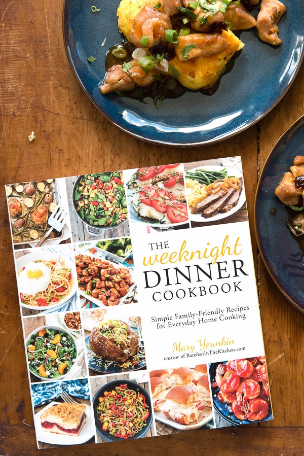 Sweet Chipotle Chicken Bites with Pan Fried Polenta and The Weeknight Dinner Cookbook