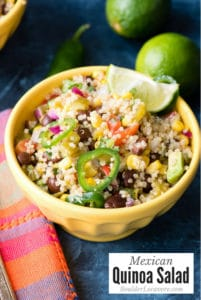 Mexican Quinoa Salad in yellow bowl