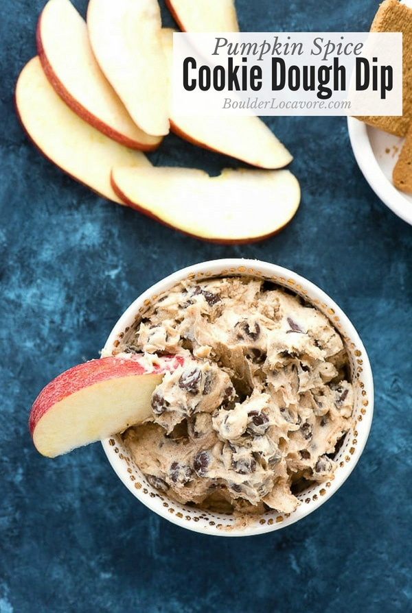 Pumpkin Spice Cookie Dough Dip. An easy recipe that is fast to make. Sweet flavors of pumpkin and chocolate in a creamy dip perfect for fruit or cookies! #pumpkinspice #dessert #dip #chocolate #easyrecipe #fast #glutenfree
