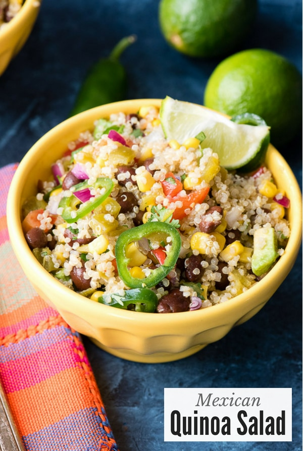 Quinoa Salad with Mexican seasonings in yellow bowl