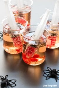 Creepy Shirley Temples with syringes