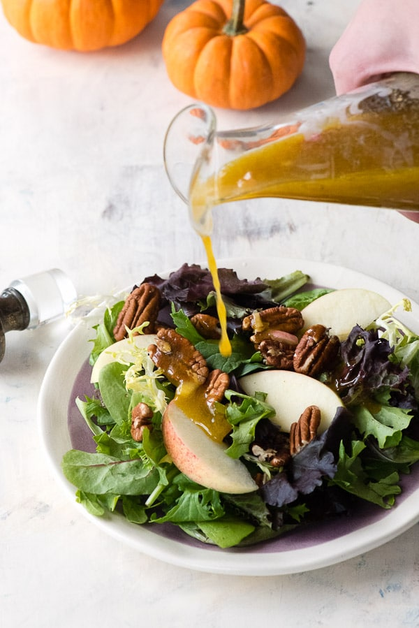 Maple Pumpkin Butter Vinaigrette. Sweet, tangy and tasting like fall, this salad dressing recipe is sure to become a fall favorite! | BoulderLocavore.com
