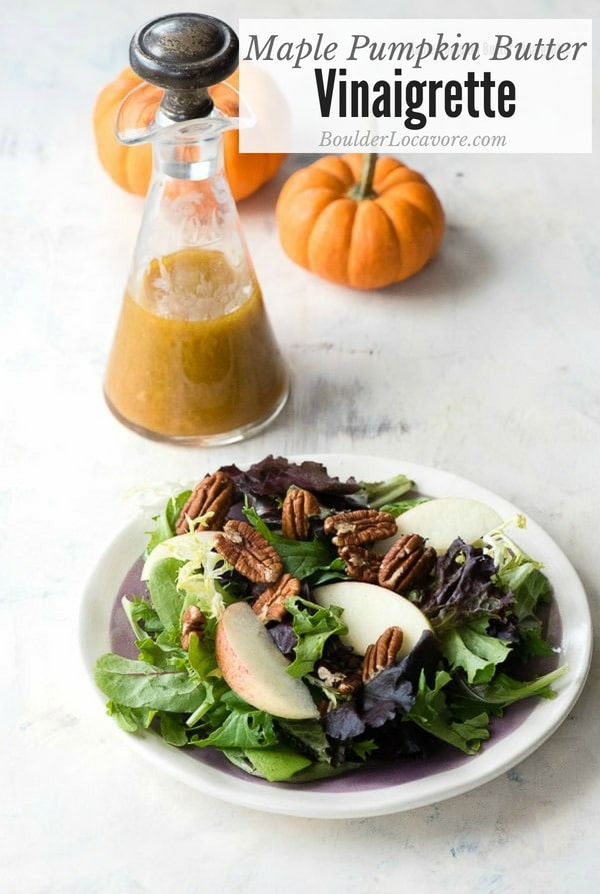 Maple Pumpkin Butter Vinaigrette. Tangy, sweet salad dressing that's perfect for any greens. Easy to make! #dressing #vinaigrette #salad #pumpkin #maple #easyrecipe #glutenfree