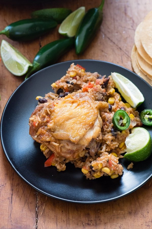 Mexican Chicken and Rice Skillet. on black plate