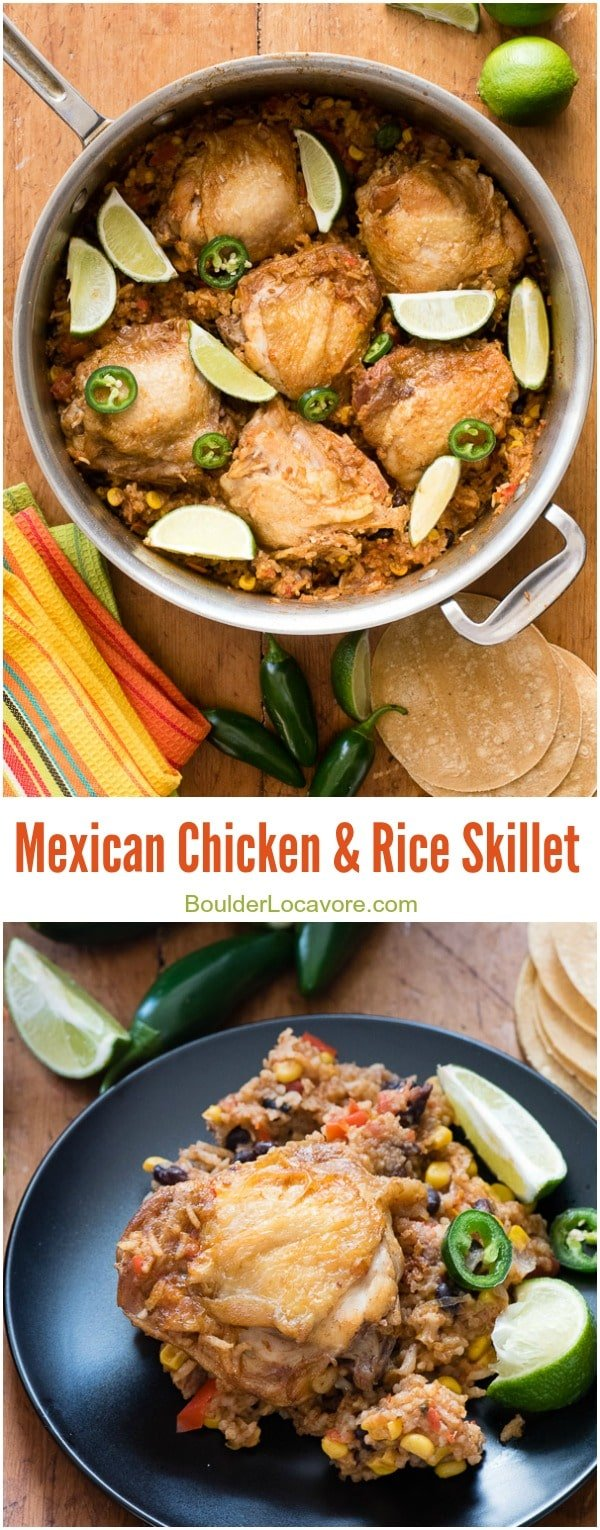Mexican Chicken and Rice Skillet.  collage