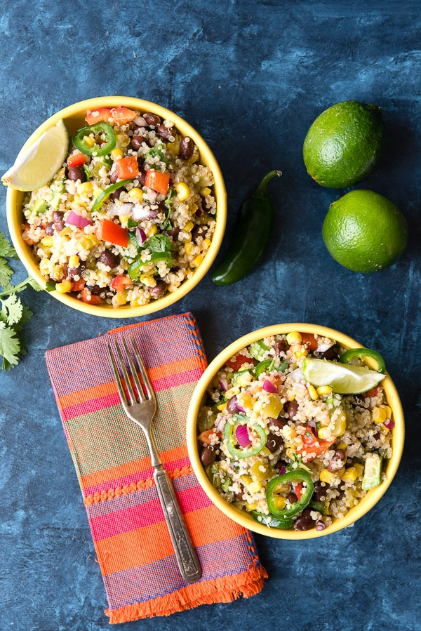 Mexican Green Chile Quinoa Salad. Colorful, crunchy, spicy and full of great whole ingrients, this can be served as a warm side dish or chilled salad. Gluten-free and Vegan. - BoulderLocavore.com