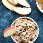 Pumpkin Spice Cookie Dough Dip. Tangy chocolate chip 'cookie dough' spiced for the fall with pumpkin pie spice. Great to dip with fruit, cookies or graham crackers! Gluten-free. | BoulderLocavore.com