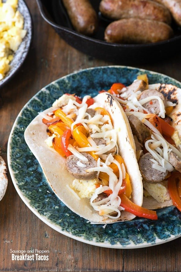 Sausage and Peppers Breakfast Tacos