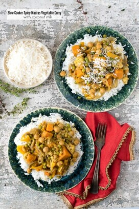 Slow Cooker Spicy Madras Vegetable Curry with Coconut Milk on rice