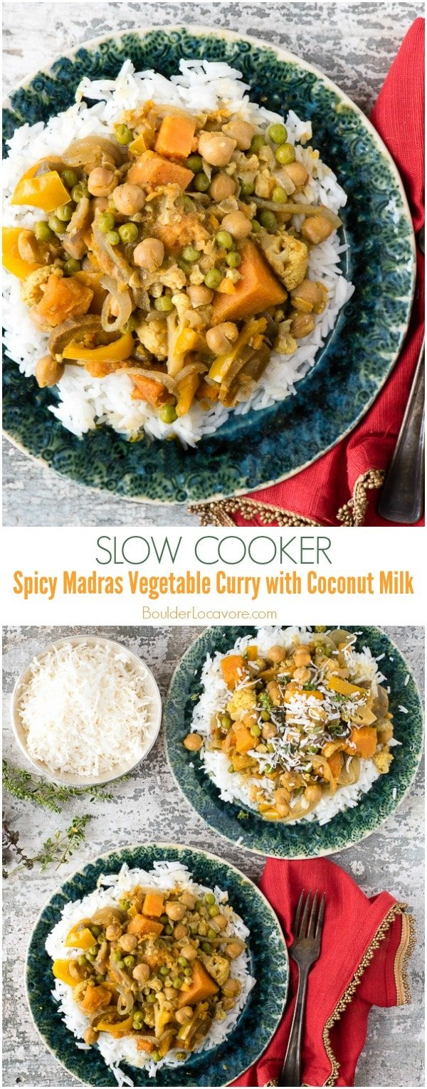Slow Cooker Spicy Madras Vegetable Curry with Coconut Milk. Full of tasty vegetables, garbanzo beans, sweet potatoes in a spicy curry sauce. Gluten-free, vegan. - BoulderLocavore.com