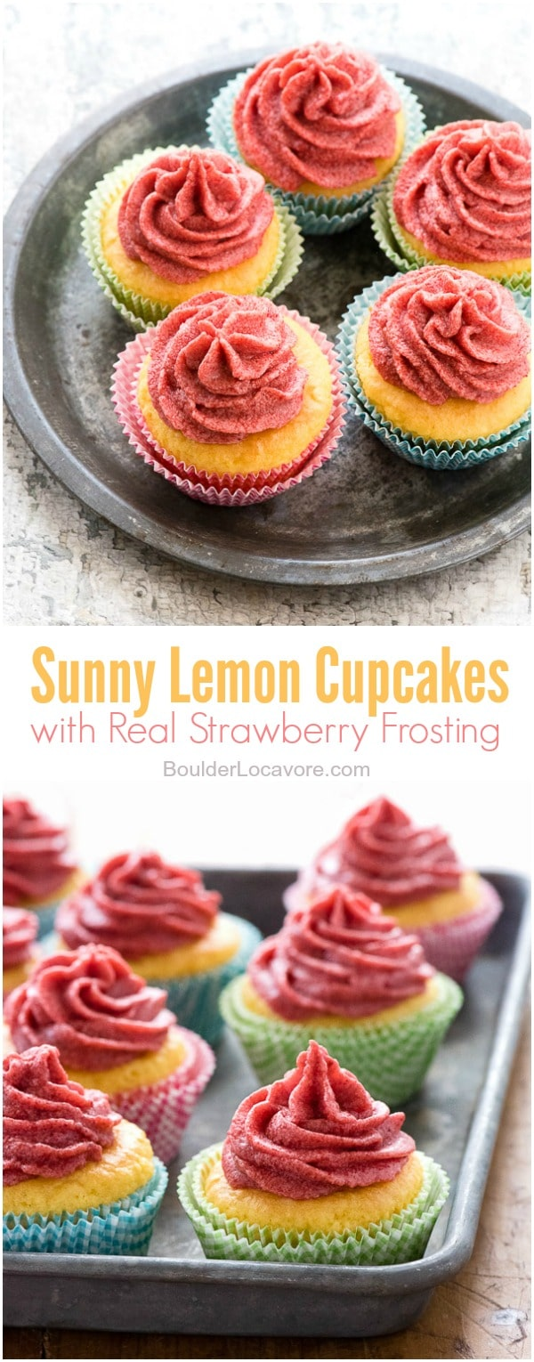 Sunny Lemon Cupcakes with real Strawberry Frosting. A simple cake mix hack turns yellow cake into lemon cake batter for lemony cupcakes topped with real strawberry frosting. Gluten-free or regular. - BoulderLocavore.com
