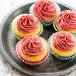 Sunny Lemon Cupcakes with real Strawberry Frosting