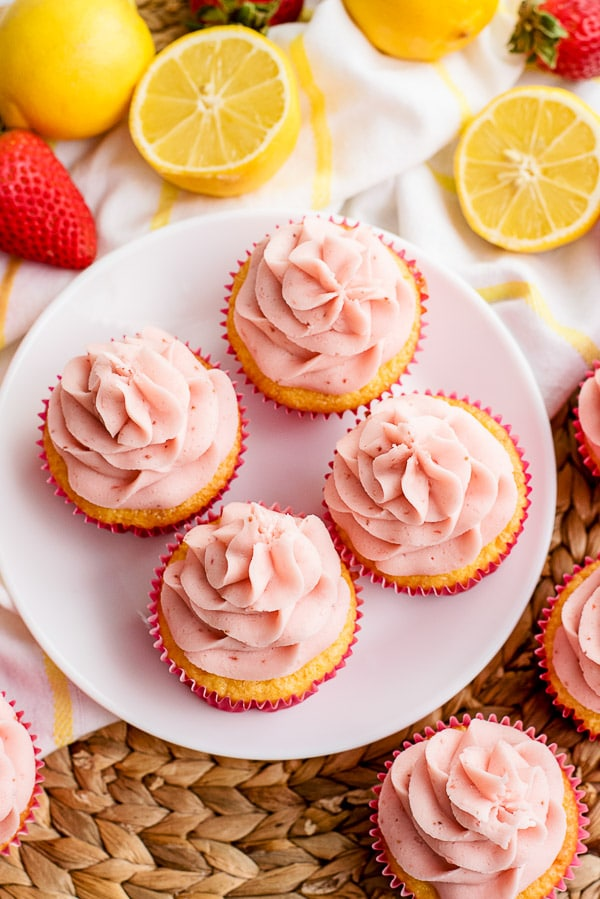 lemon cupcakes frosted with strawberry frosting