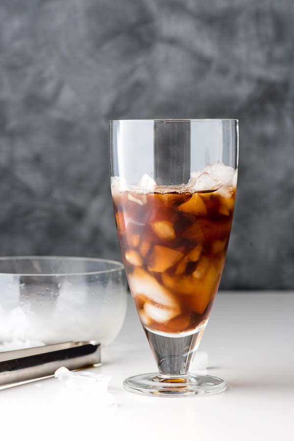 coffee and ice in a tall glass
