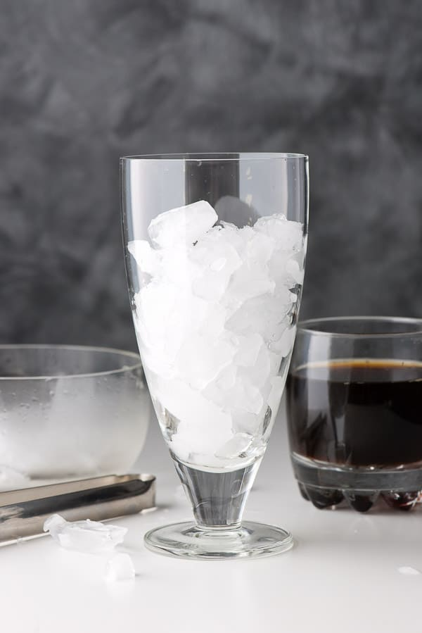 Ice in a tall glass