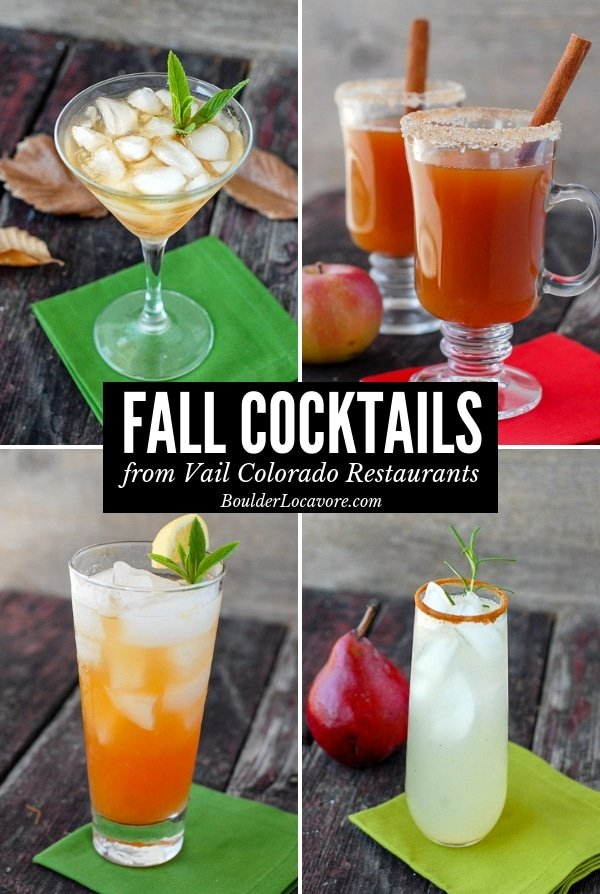 photos of 4 fall cocktails in collage