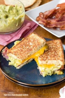 Grilled Triple Cheese Bacon Guacamole Sandwich. Sharp cheddar, spicy Pepper Jack and creamy Provolone cheeses