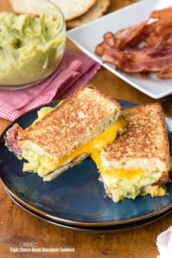 Grilled Triple Cheese Bacon Guacamole Sandwich