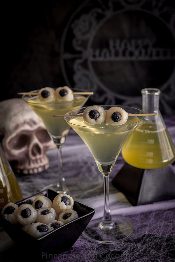 Halloween Creepy Eyeball Martini Pineapple & Coconut