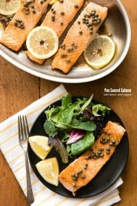 Pan Seared Salmon with capers and lemon