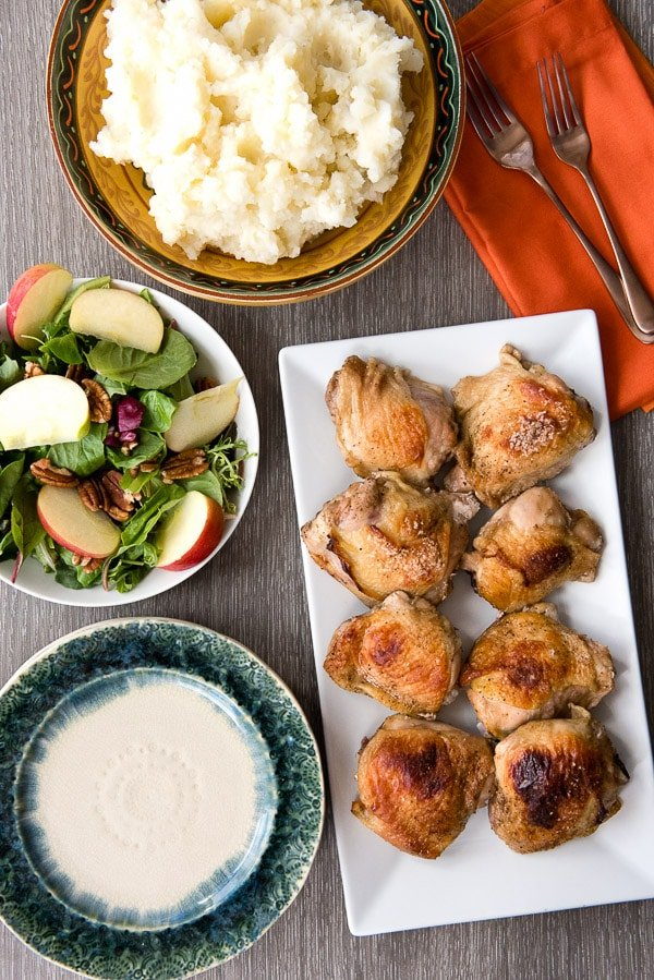 Roasted Sweet Tea Chicken Thighs. Succulent, slightly sweet chicken thighs oven-roasted to perfectly crisp skin in less than an hour! A super simple, delicious recipe. BoulderLocavore.com