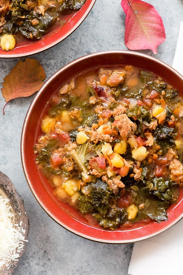 Slow Cooker Chorizo Kale Soup. Spicy, chunky soup that will warm your soul with no effort to make! BoulderLocavore.com