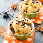 Vegan Pumpkin Spice Ice Cream with Mini Chocolate Chips (allergy free). Creamy dairy-free, vegan pumpkin spice ice cream that tastes just like pumpkin pie filling! Allergy-friendly mini chocolate chips on top! BoulderLocavore.com