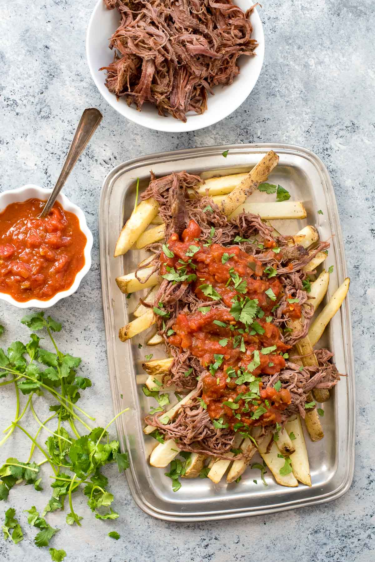 carne asada fries with salsa