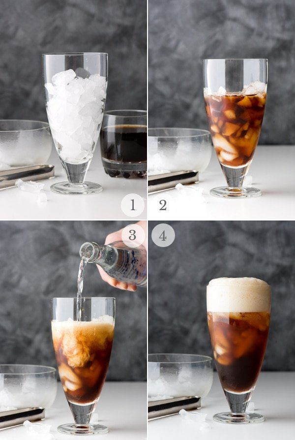 iced coffee soda recipe steps photos collage