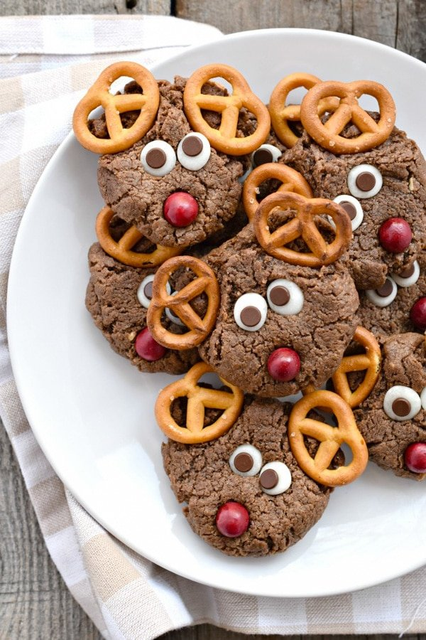 Chocolate Peanut Butter Reindeer Cookies for Christmas Gluten-Free | Fork and Beans