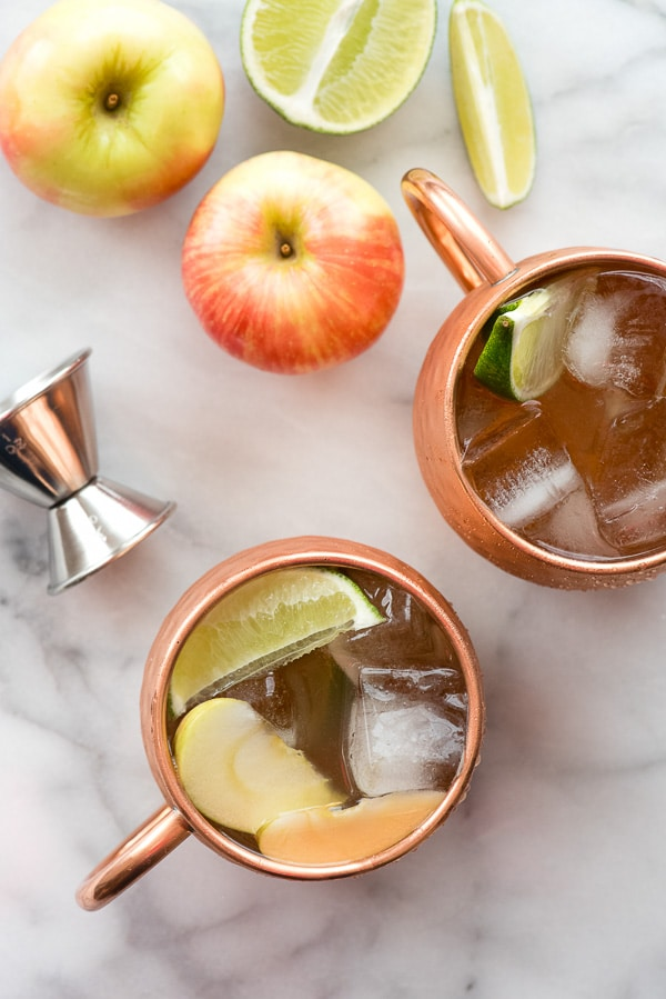 Apple Cider Moscow Mules from overhead