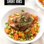Instant Pot Short Ribs with Harvest Succotash in a white bowl