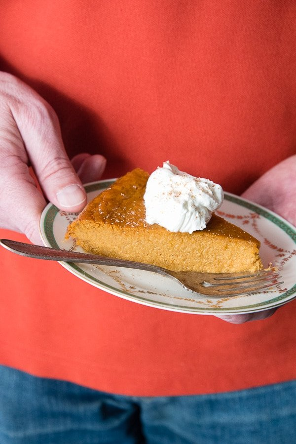 slice of no crust pumpkin pie on a plate