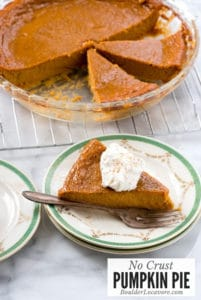 Slice of crustless pumpkin pie on plate with pie in background