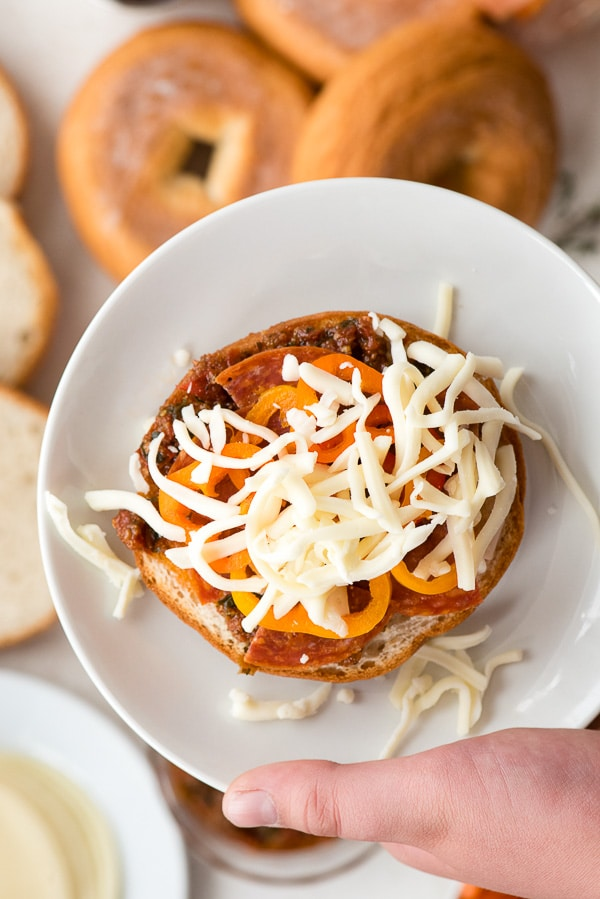 Personal Pizza Bagels with mozzarella cheese Personal Pizza Bagels. Individual mini pizzas made from your choice of ingredients. Everyone can be unique. Great for parties. Gluten-free or regular. BoulderLocavore.com