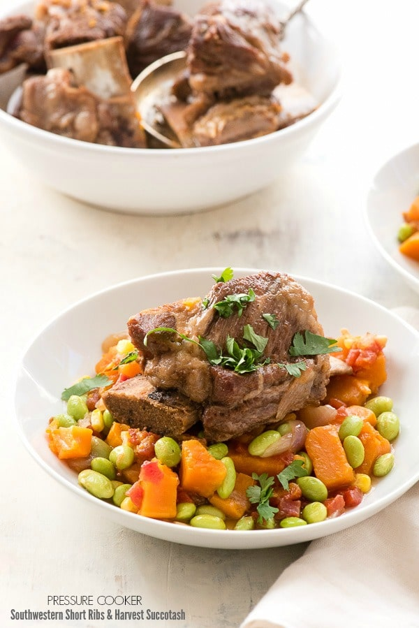 Pressure Cooker Southwestern Short Ribs with Harvest Succotash