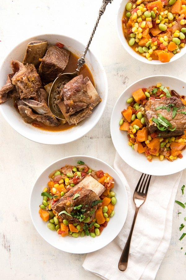 bowls of succotash with beef short ribs cooked in the Instant Pot