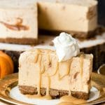 Pumpkin Cinnamon Ripple Ice Cream Pie with Salted Caramel Sauce