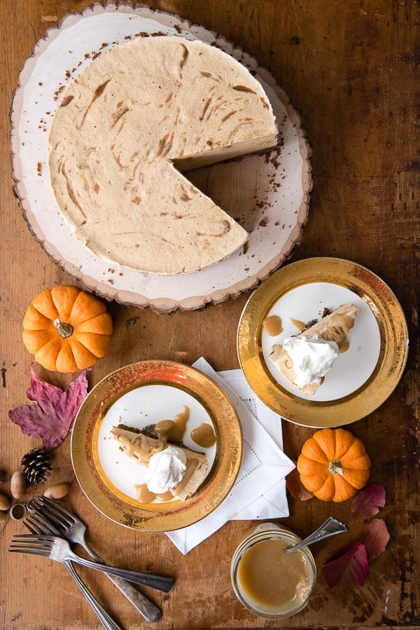 Pumpkin Cinnamon Ripple Ice Cream Pie with Salted Caramel Sauce. Bursting with fall flavor and easy to make. A great Thanksgiving no bake pie option! BoulderLocavore.com